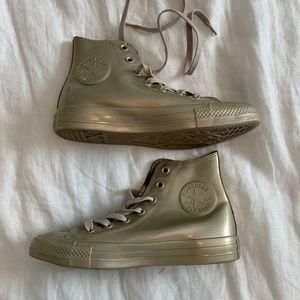 NWOT metallic gold, waterproof Converse